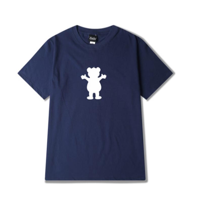 ユニセックス白/黒/グレー/ピンク/青/ベージュ熊モチーフTシャツ