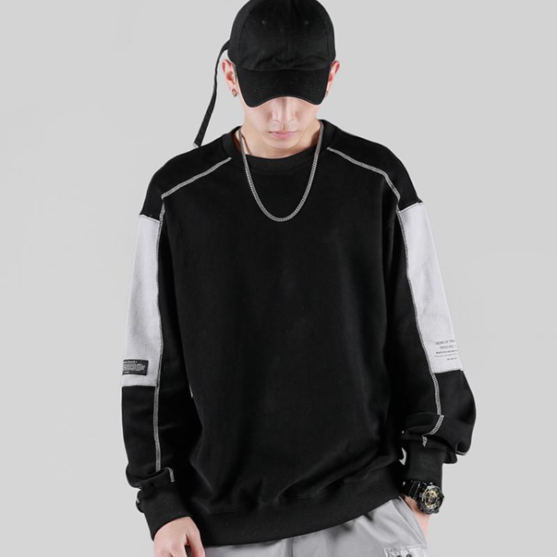 メンズカジュアル/バイカラー袖ワンポイントロゴトップス黒/白