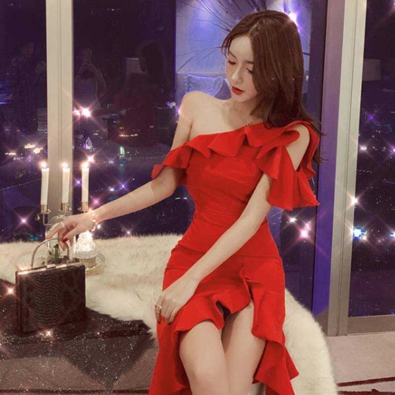 パーティーワンショルダーフリルアシンメトリー赤ドレス