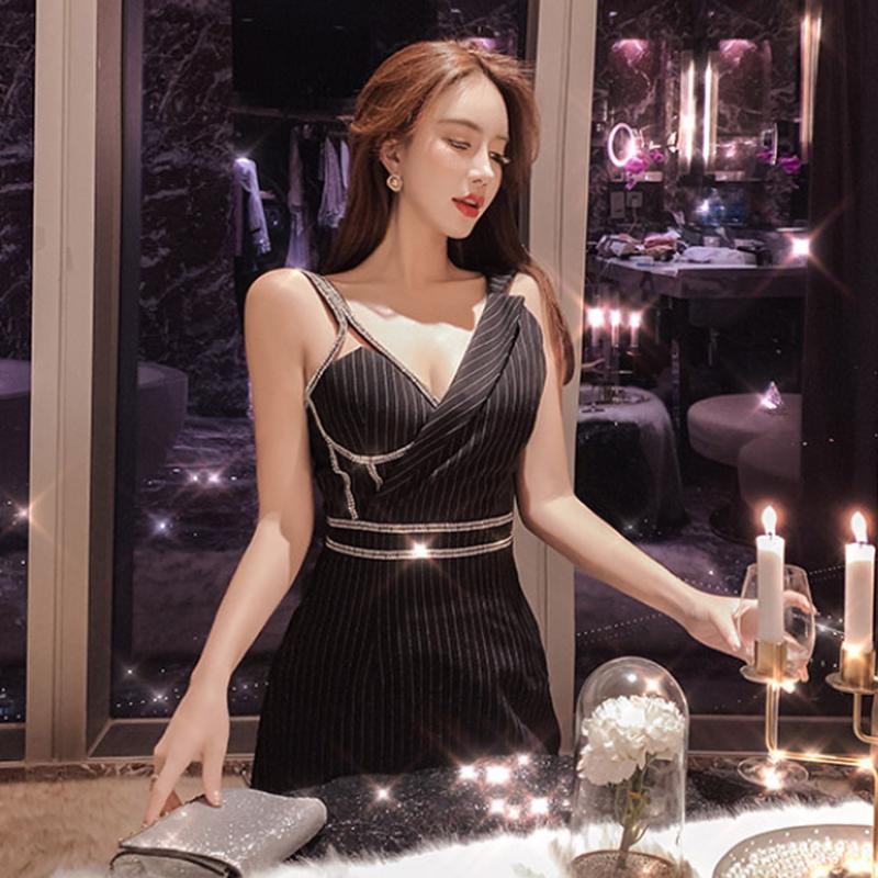 パーティー服アシンメトリービジューキャミストライプ黒ドレス