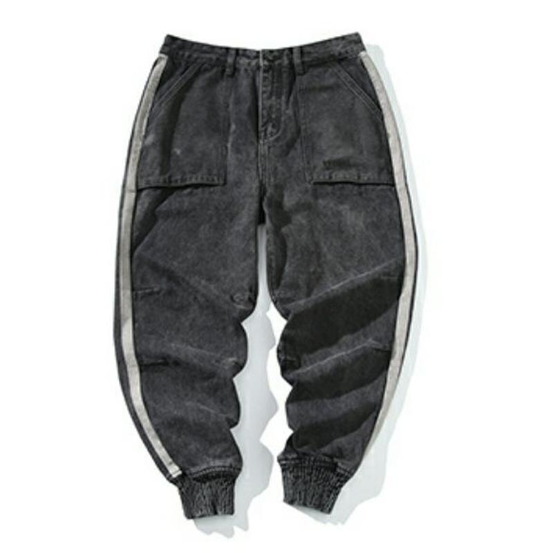 メンズサイドラインスポーティデニム黒ジョガーパンツ