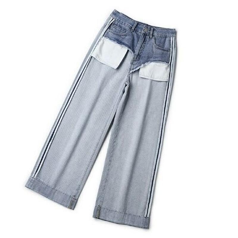 裏返し風おしゃれなデザインワイドストレートジーンズ