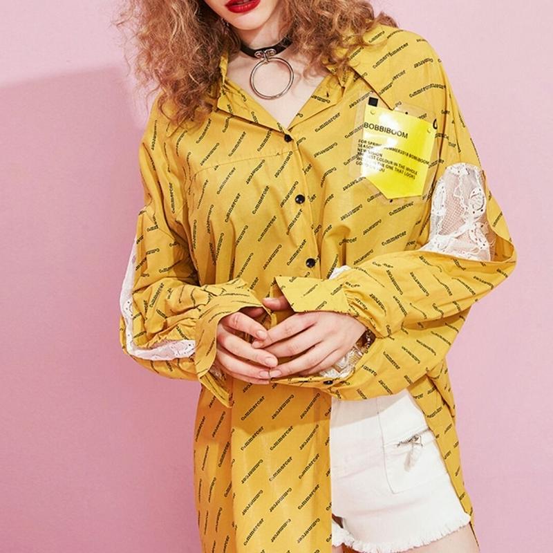 袖レースロゴプリントがスタイリッシュオーバーサイズ赤黄シャツ