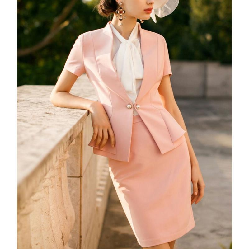 スーツセットアップ/ビジューボタン半袖ジャケット+スカート