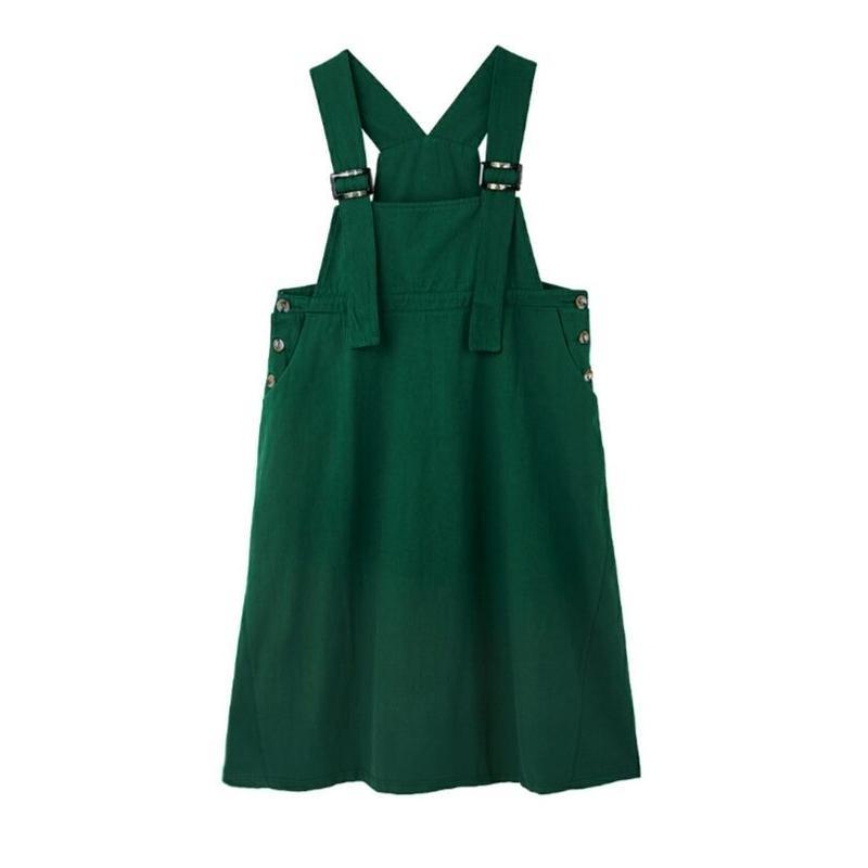 4色レイヤードコーデ黒緑ベージュ青デニムロングサロペットスカート