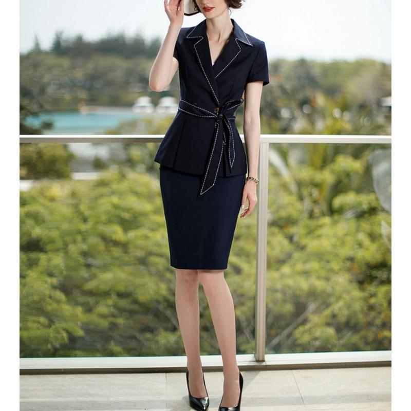 スーツセットアップ/紐リボンペプラム調節半袖ジャケット+スカート