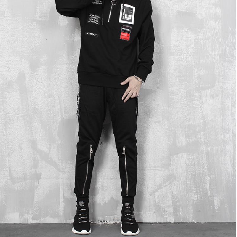 メンズ/ポイントジップが魅力/黒コットン綿ジョガーパンツ