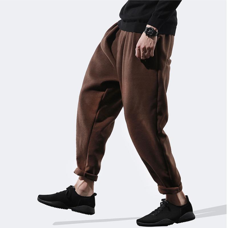メンズ休日コーデ黒/グレー/茶リラックスコットン綿パンツ