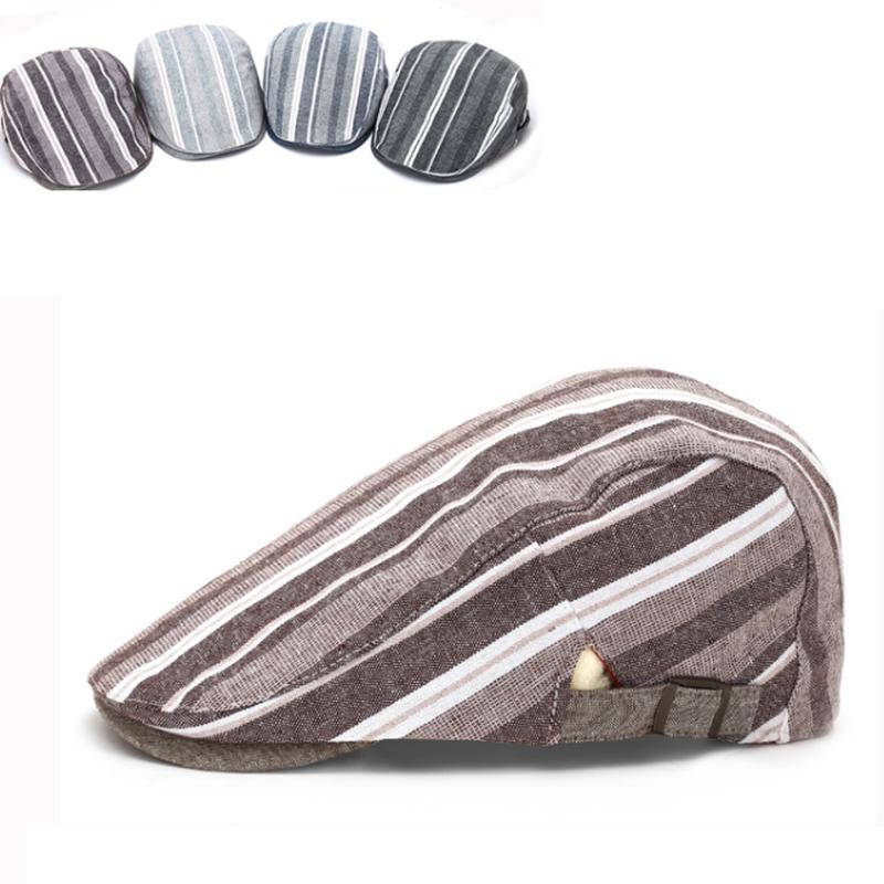 ユニセックスコットン綿素材ストライプハンチング帽子