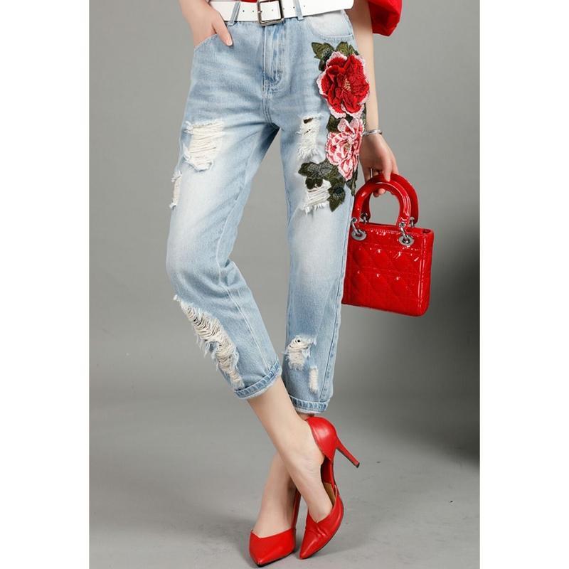 繊細サイド花&葉っぱモチーフ刺繍ダメージデニムジーンズパンツ