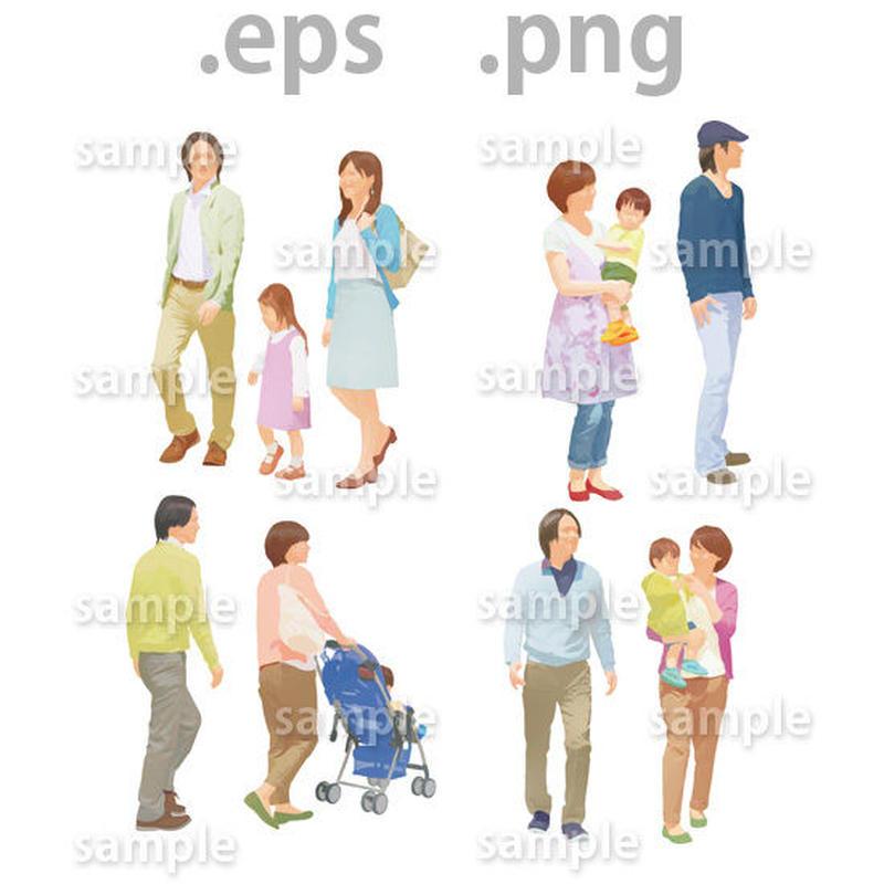 ファミリーイラスト (EPS , PNG )   fa_015