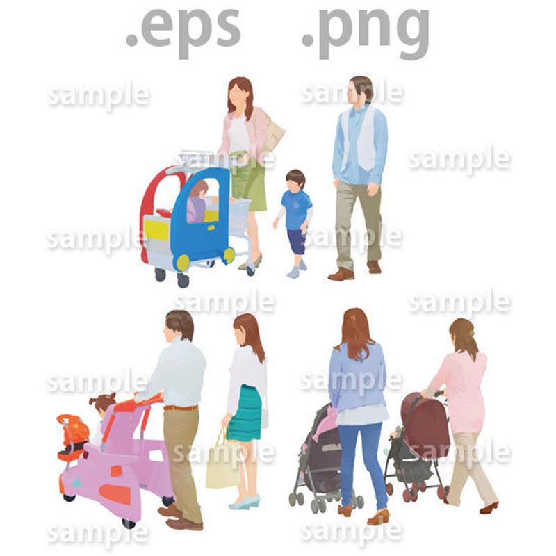 ファミリーイラスト (EPS , PNG )   fa_019