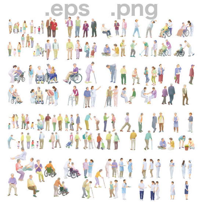 シニアイラスト (EPS , PNG ) セット  se_set01