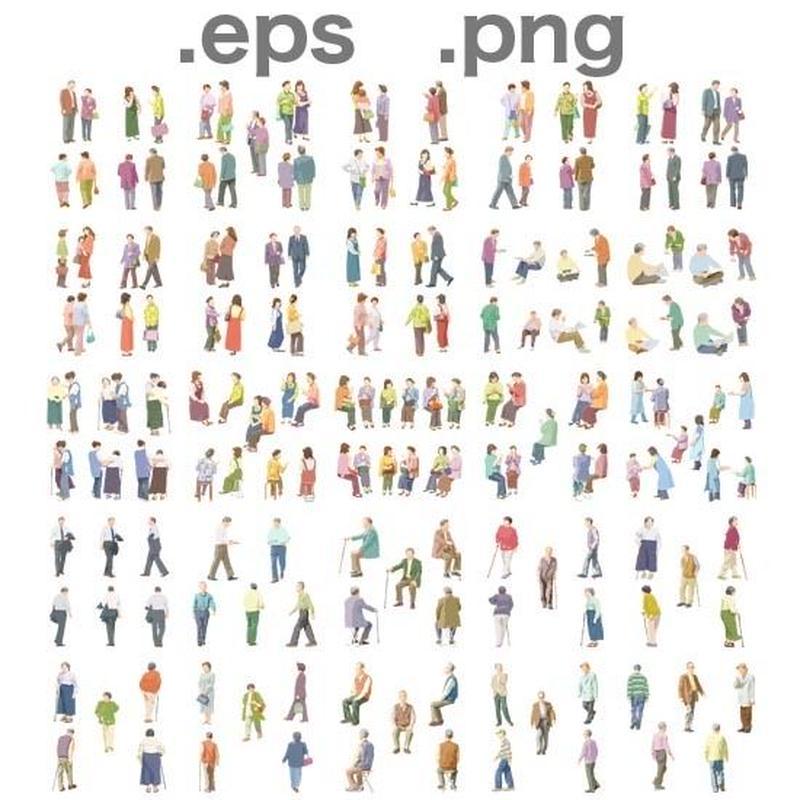 シニアイラスト (EPS , PNG ) セット  se_set02