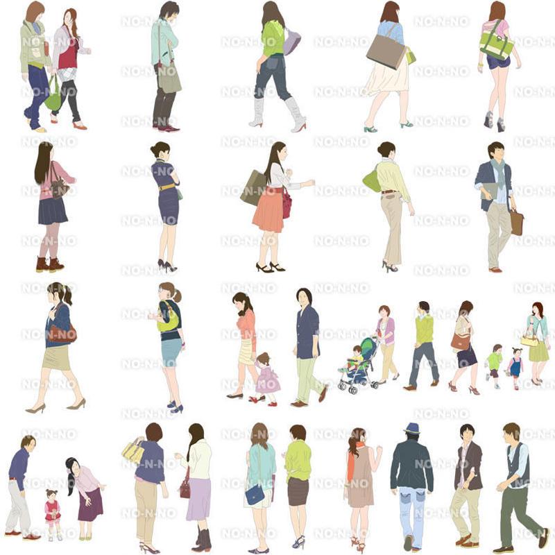 人物イラスト - 線画タイプ - 20個セット 4ill_03