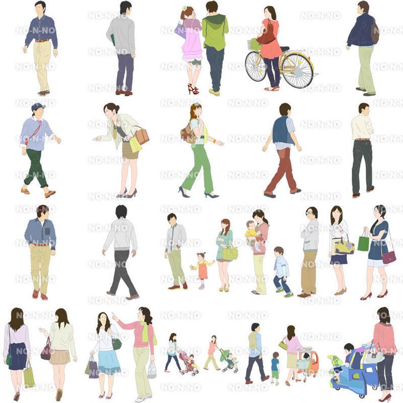 人物イラスト - 線画タイプ - 20個セット 4ill_05