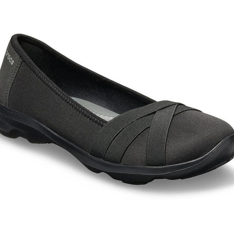 【crocs/パンプス】crocs/クロックス/ビジーデイ ストラッピー フラット ウィメン(Black/Slate Grey)【205339-ODD】