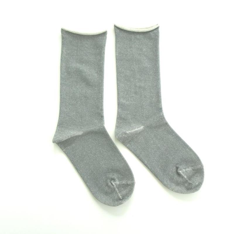 【ギフトに人気】ペルーコットンのゴムなし靴下(ユニセックス) グレー_SO005-DG