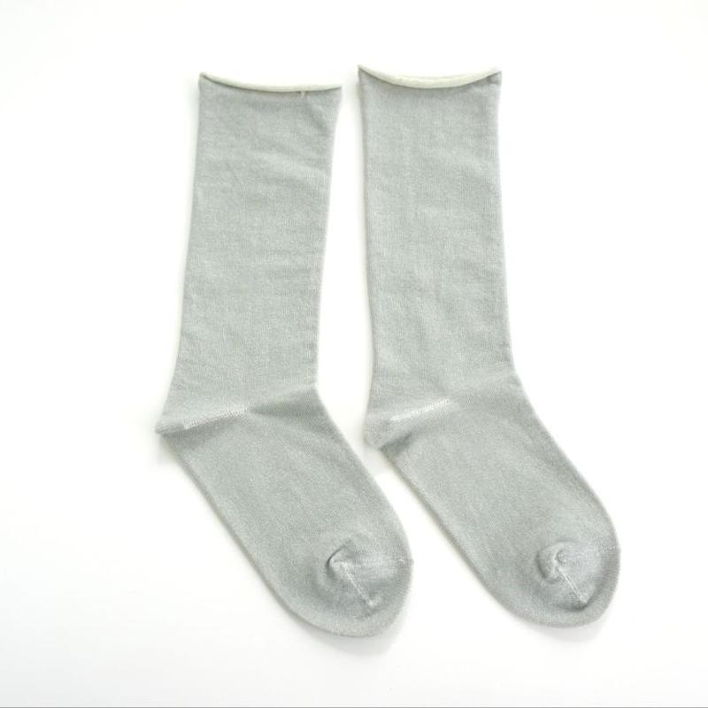 【ギフトに人気】ペルーコットンのゴムなし靴下(ユニセックス) ライトグレー_SO005-LG