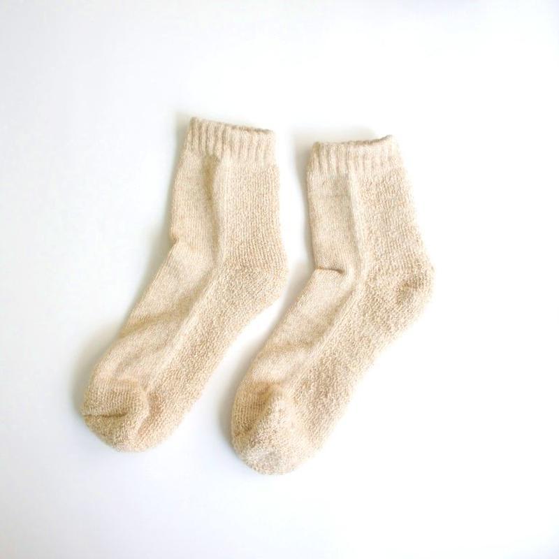 蒸れずに温かい 底パイルふわふわ靴下/ 撚り杢ベージュ_SO002-BE