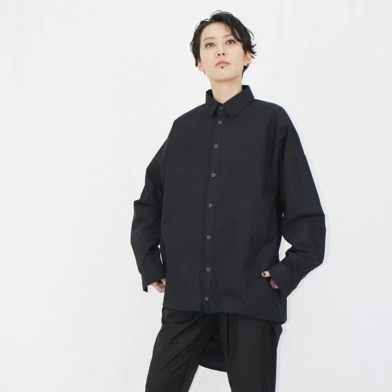 バルーン アシンメトリーヘム オーバーサイズシャツ  ブラック