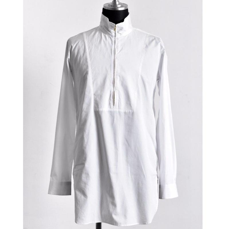 Bennu ヴェンヌ 100Sブロード スタンドカラー ジップロングシャツ
