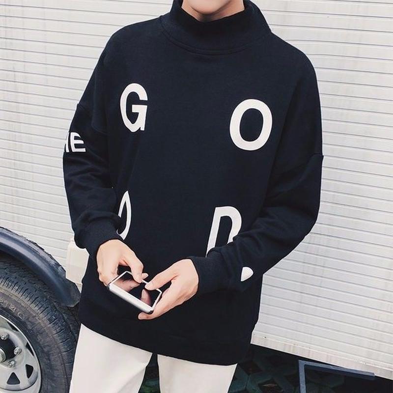 THE GOOD. ロゴ ハイネック ドロップショルダー スウェットシャツ ブラック