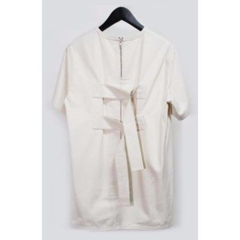 PETHIDINE IN PEARL ボックスプリーツ ベルトTシャツ ホワイト