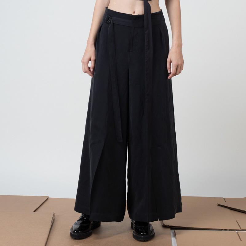 KETA GUTMANE ケタ グットマン Linen/cupro trousers with belt リネン混キュプラ ワイドパンツ ベルト付