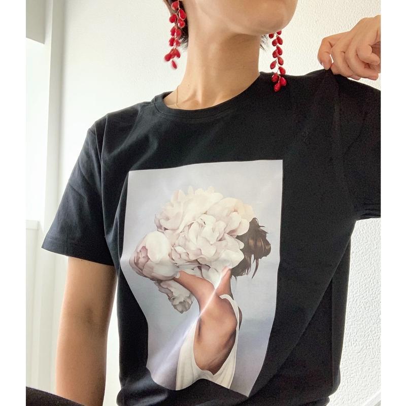 フェミニンフラワー Tシャツ ブラック