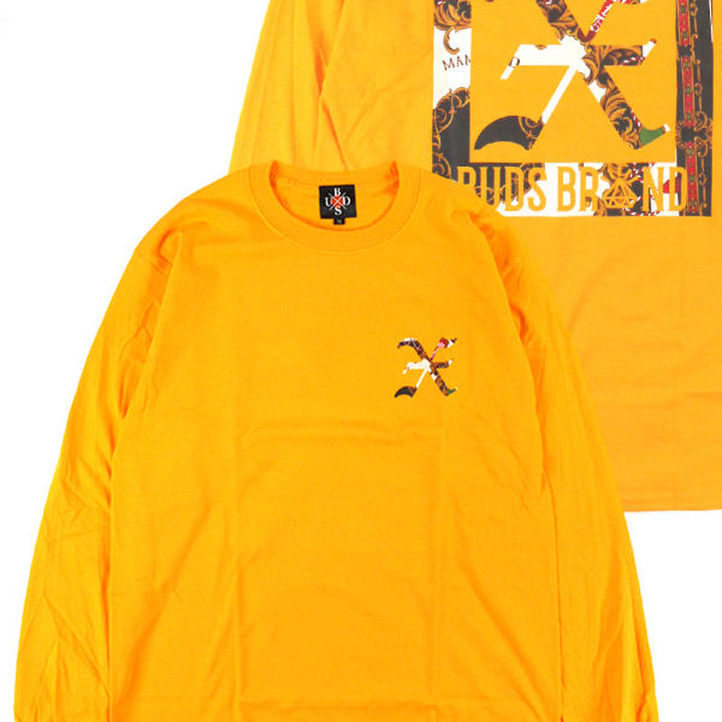 "BUDS(バッズ)×MAMFDAD ""SCARF PATTERN L/S TEE""  YELLOW"