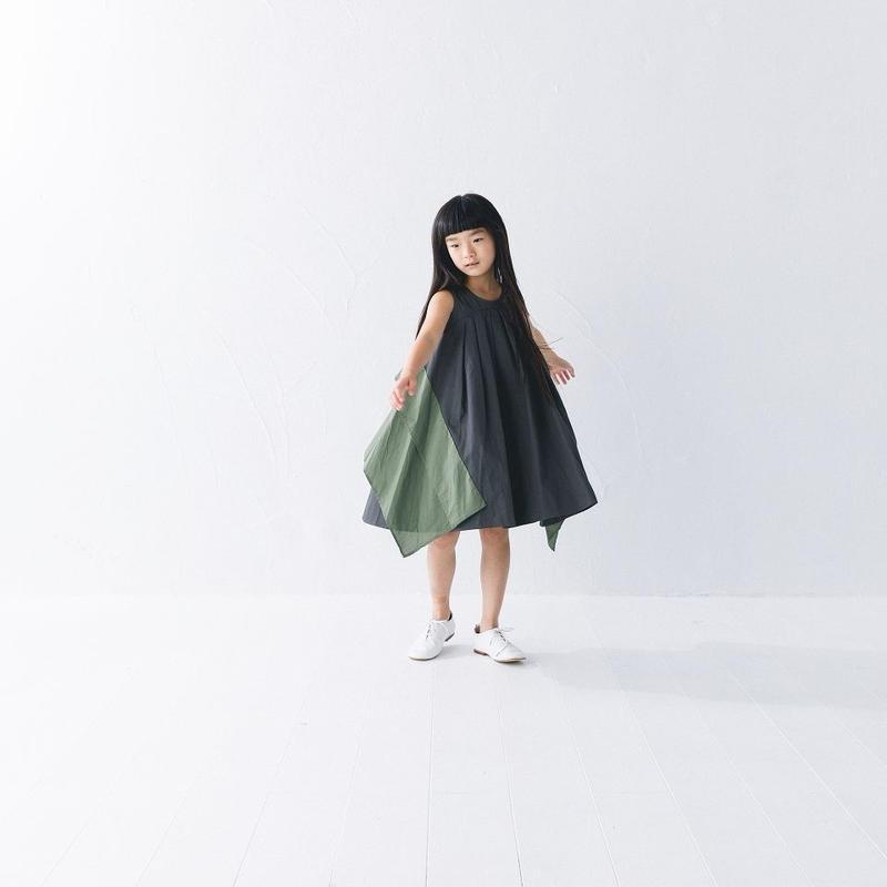 nunuforme / スクエアパッチワンピースnf11-411-006チャコール95.105.115.125.135.145