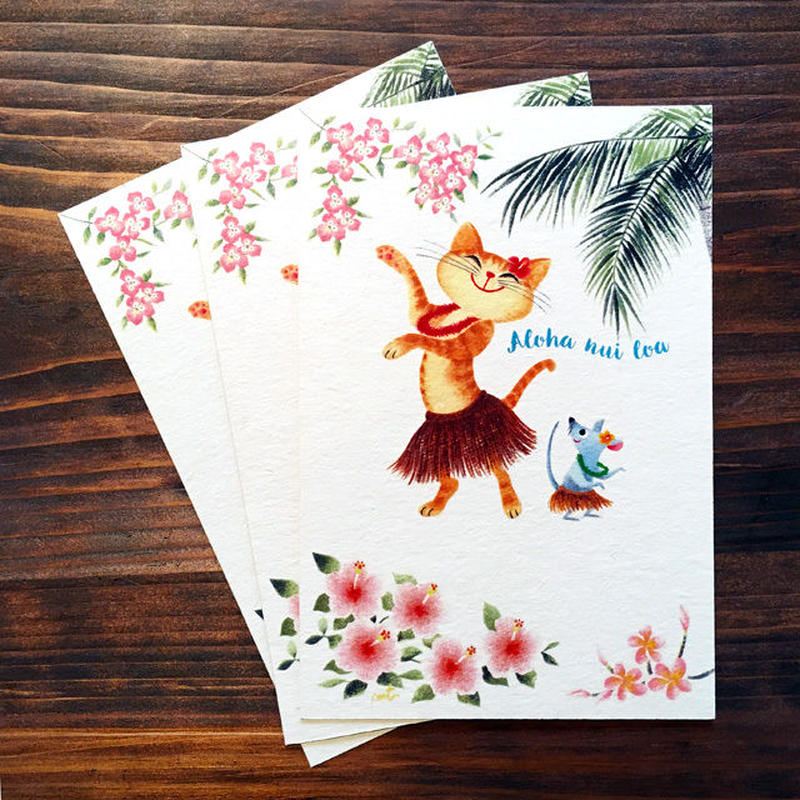 G.ポストカード3枚セット[ネコとネズミのフラダンス]