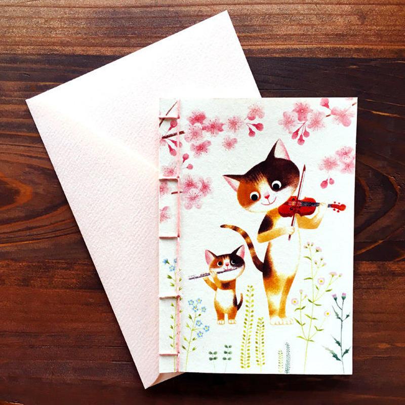 メッセージカード[みけねこ親子の二重奏 ]草木染めこぎん糸の和綴じ
