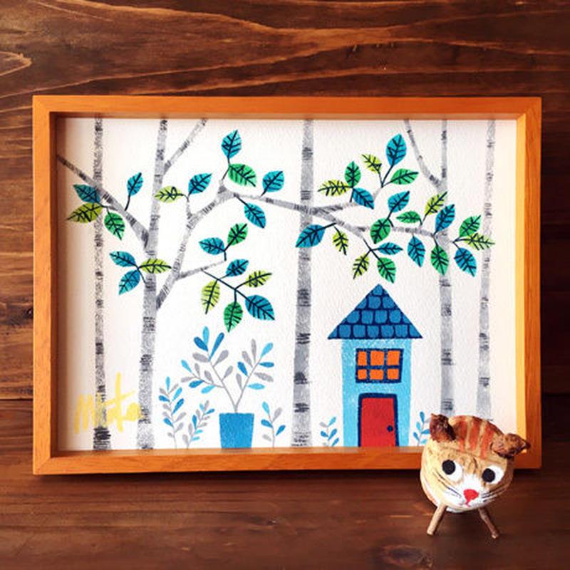 イラスト原画[猫の庭]木製フレーム付き