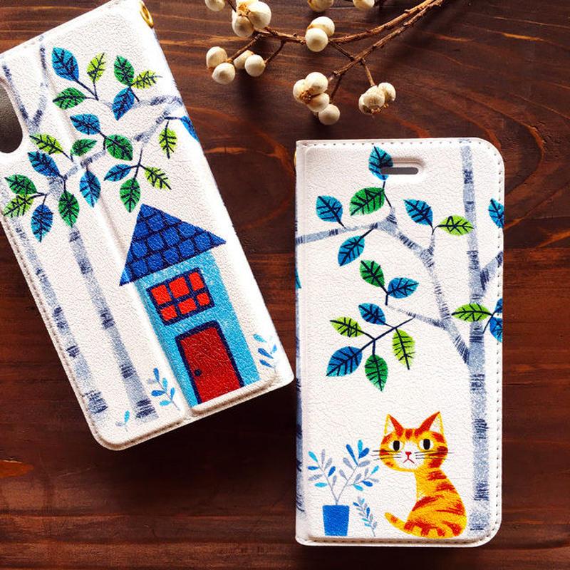 ベルトなし手帳型iPhoneケース[猫の庭]