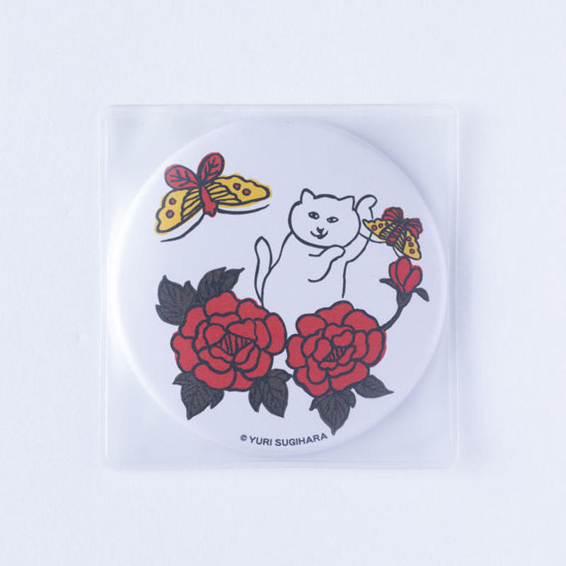 (NEW!) HANAFUDA CAT CAN MIRROR-Butterfly