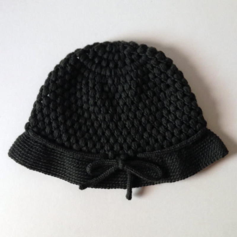 ニット帽  玉編みクロッシュ