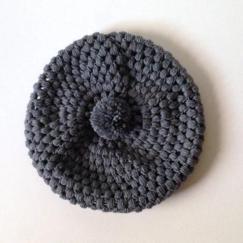 ニット帽 玉編みベレー