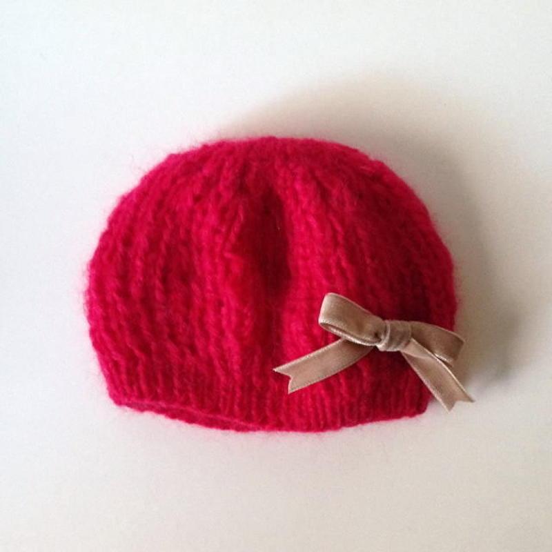 ニット帽 モヘアベレー