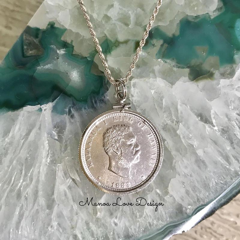 1883年 1点物 カラカウアキング ハワイアン25㌣ ハワイコイン シルバーネックレス ($380)