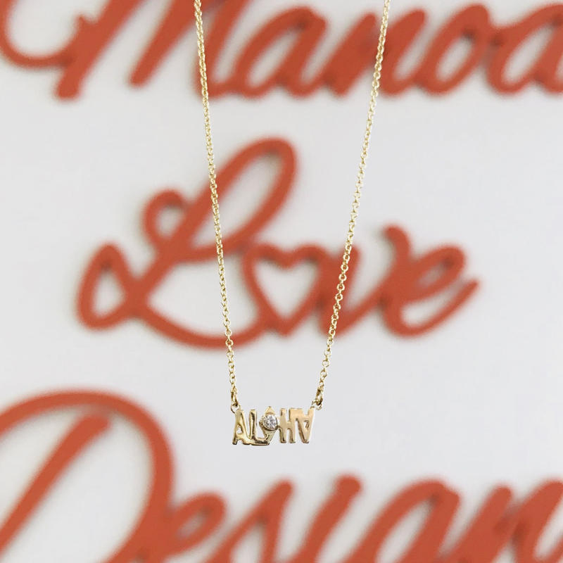 14K ALOHA ハンドカット ダイヤモンドネックレス($1036)