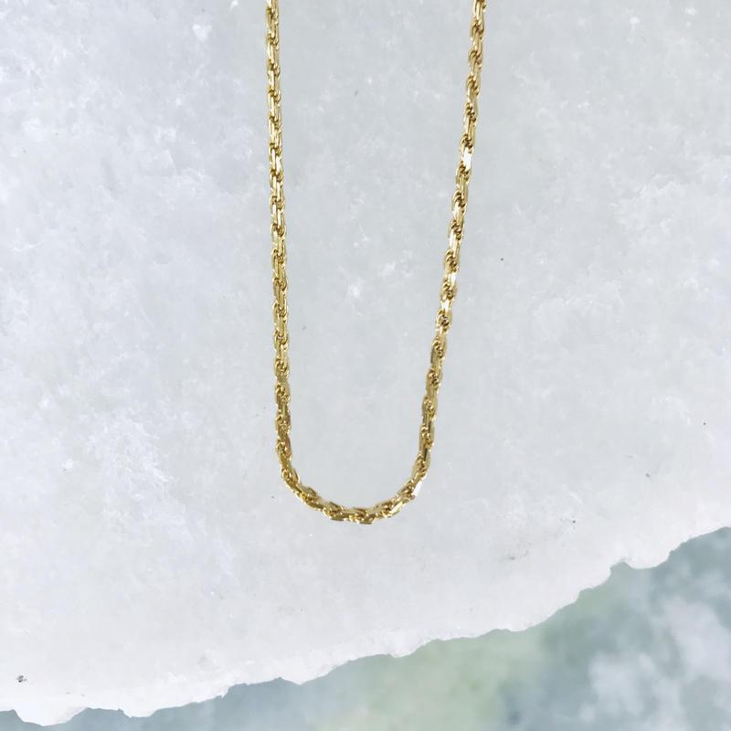 14K / 1.5mm ダイヤモンドカット ロープチェーン ($360)