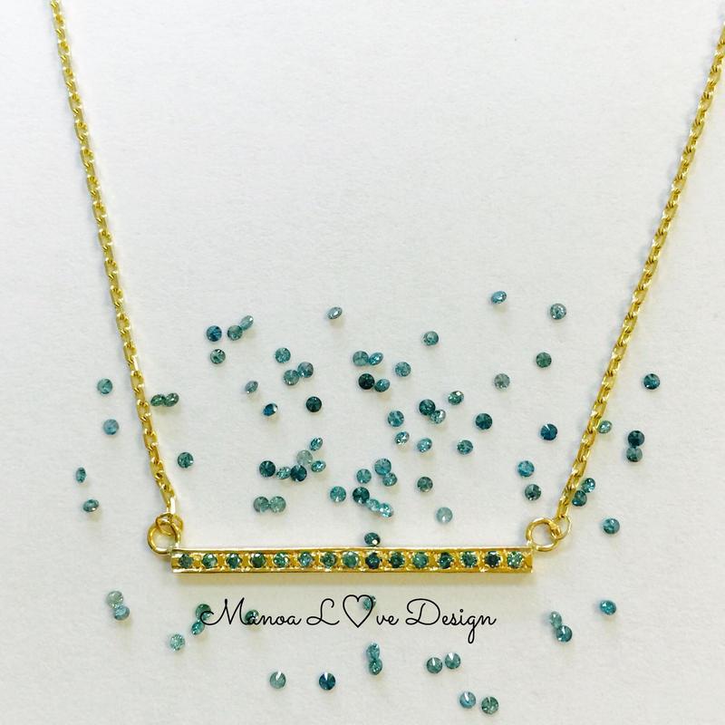 14K ブルーダイヤモンド バーネックレス ($780)