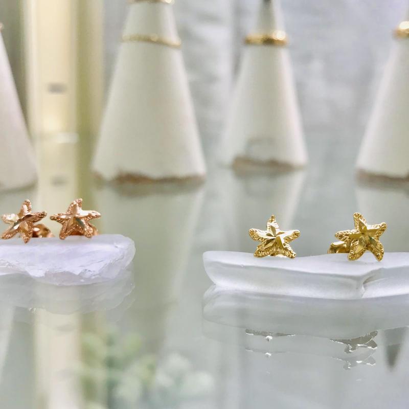 14K ダイヤモンドカット ヒトデピアス ($79 片方)