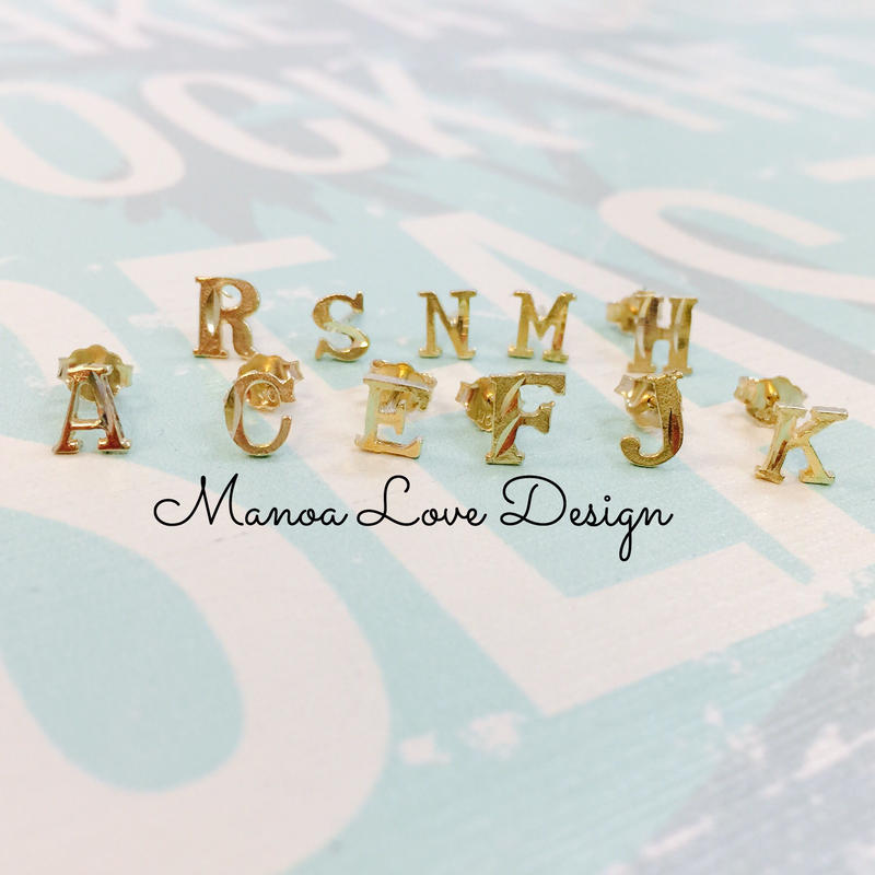 Manoa Love Design/10K Gold イニシャルピアス ($78➡︎30%off後 $54.60)