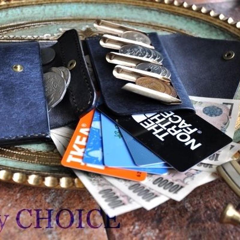 イタリアンレザー・革新のプエブロ・2つ折りコインキャッチャー財布(改)(ネイビー)