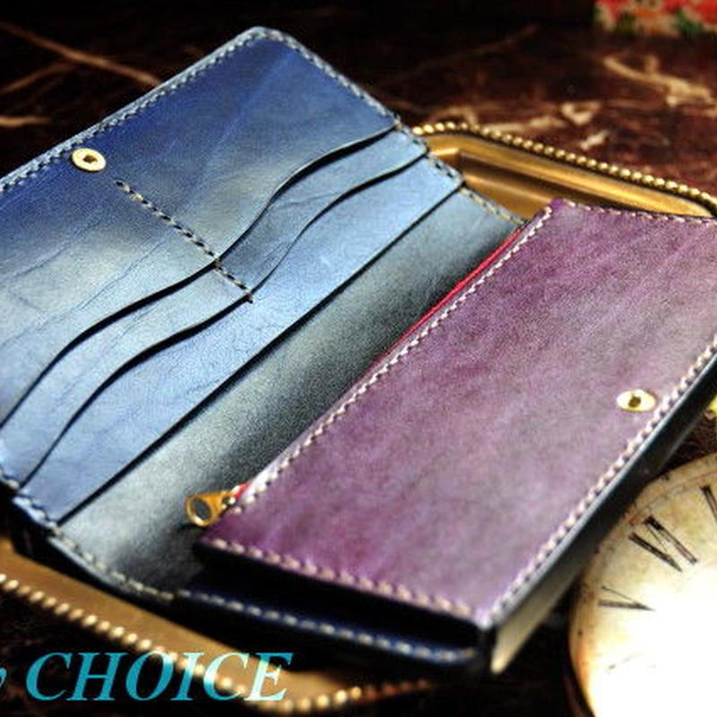 革の宝石ルガトー長財布(紺×紫)