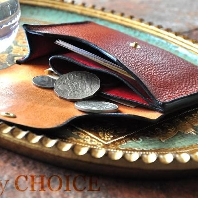 イタリアンオイルレザーアリゾナ・ミニマム財布(コニャック×マルボロ)