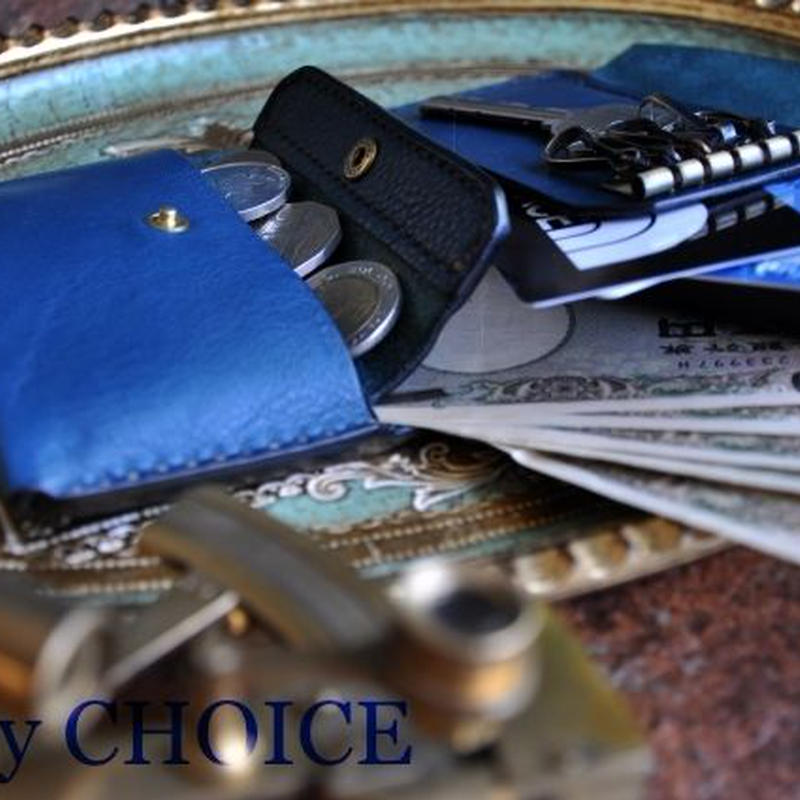 イタリアンオイルレザーアリゾナ・コンパクトキー財布(アルノブルー)